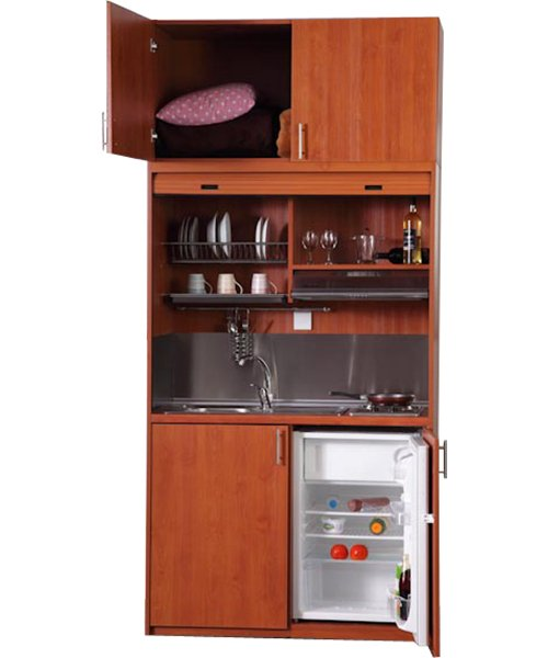 kitchenette with extra cupboard on top